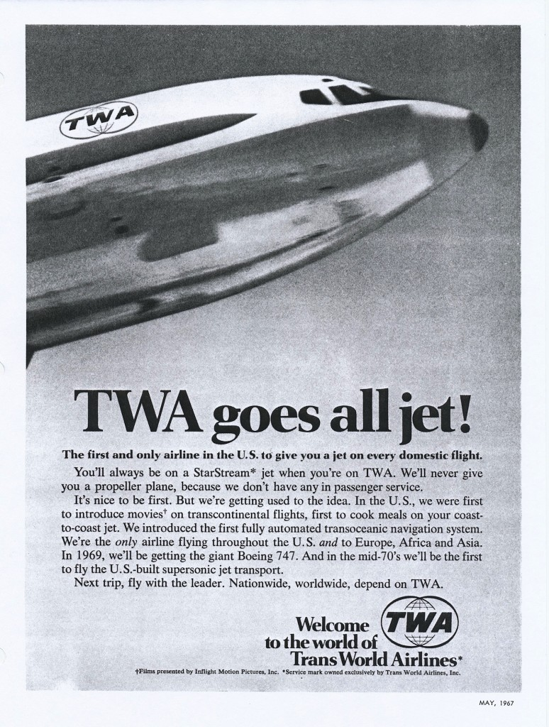"On April 6, 1967, TWA operated its last scheduled Constellation passenger flight and became the first airline to go ""all jet,"" although 1649A Jetstream freighters soldiered on until May 11."