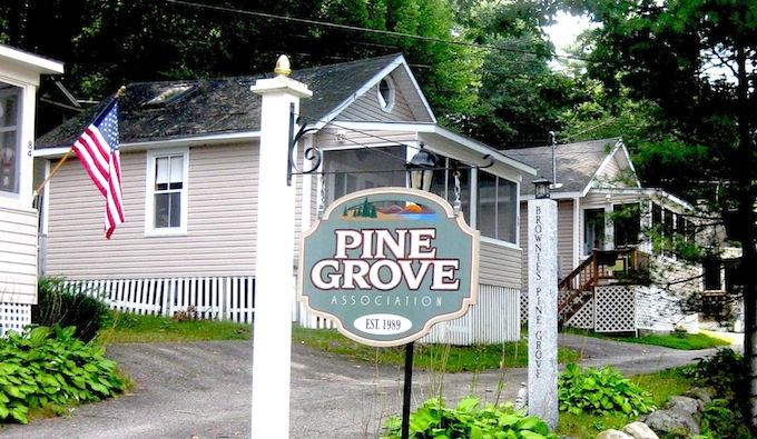 Now known simply as Pine Grove, a tribute to the colony's former owner, Carroll Brown, is visible on the post behind the sign.