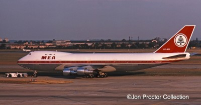 "Seen in its classic ""Cedar Jet"" livery before repaint in Saudia's colors, 747-2B4B would be one of my two in-flight offices for the next 18 months. The photo comes from my collection but I didn't take it."