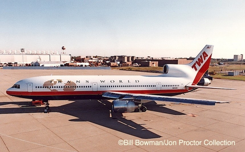 N31029 was the only L-1011 to wear TWA's final livery. It is seen at the airline's Kansas City overhaul base in November 1995, shortly after rollout from the paint hangar.