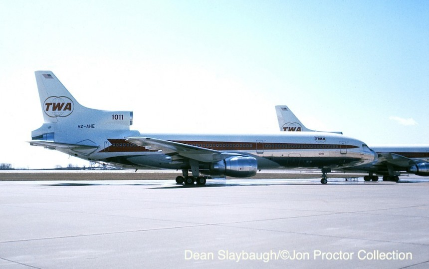 A rare picture of the two L-1011s sold to Saudia, taken by Dean Slaybaugh at TWA's Kansas City overhaul base in June 1976. N31032 was re-registered HZ-AHE prior to repainting. Behind it, N30133 became HZ-AHF. The two tail numbers were then applied to later deliveries.