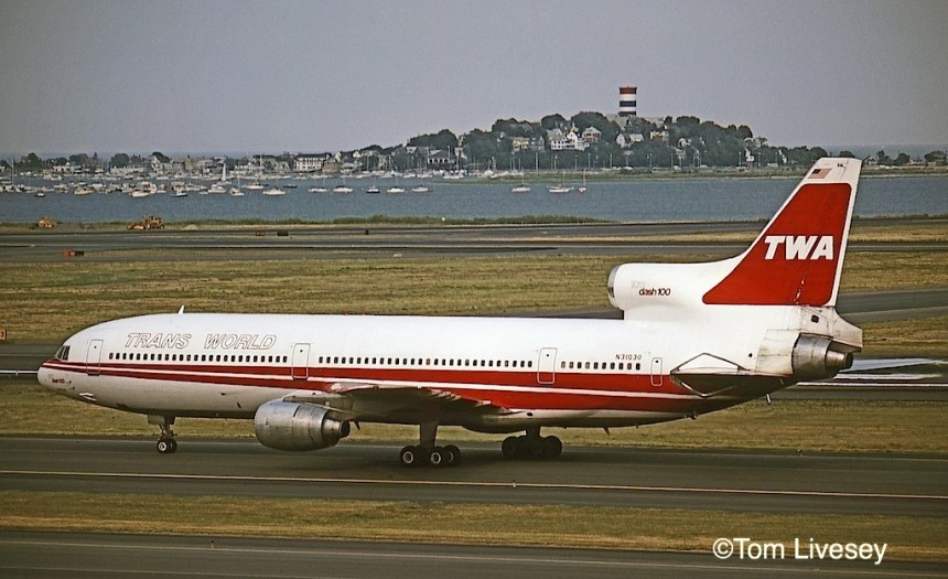 L-1011-100 N31031, pictured at Boston in 1980, flew TWA's trans-Atlantic inaugural flight on April 30, 1978, from New York to London. It was the only TriStar to receive 'L-1011 dash 100' titles on the nose and center engine inlet, with the registration moved down to just above the aft window line