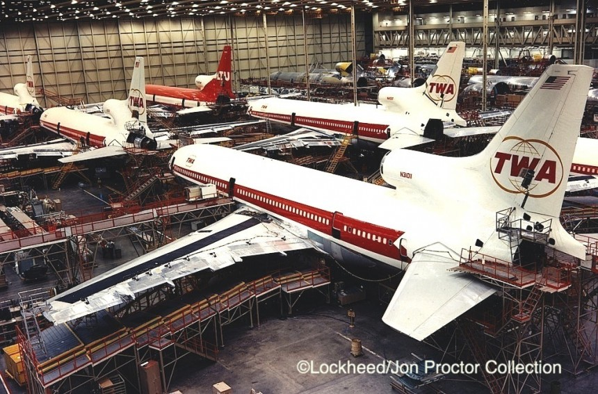 Five of TWA's second batch of six TriStars dominate the Palmdale plant assembly line in this 1973 photo.