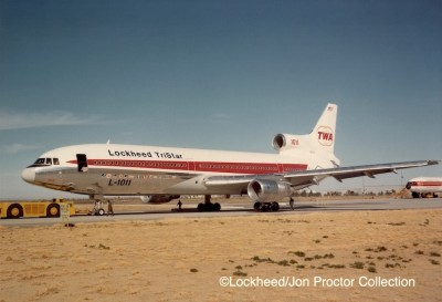 N81026's TWA livery was modified with Lockheed titles for a sales tour.
