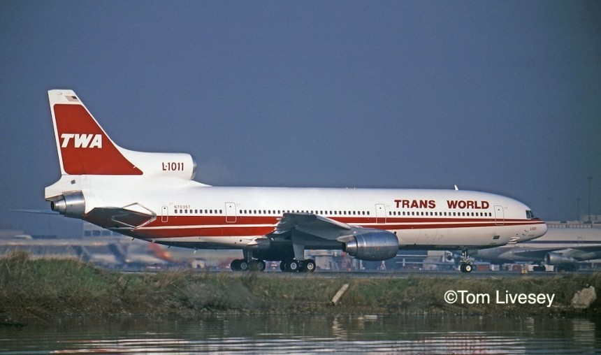 N7035T, one of five new-build L-1011-100s for TWA, ready for departure on Runway 1-Right at San Franicsco International, December 11, 1982. By then the TRANS WORLD titles had been filled in for better visibility.