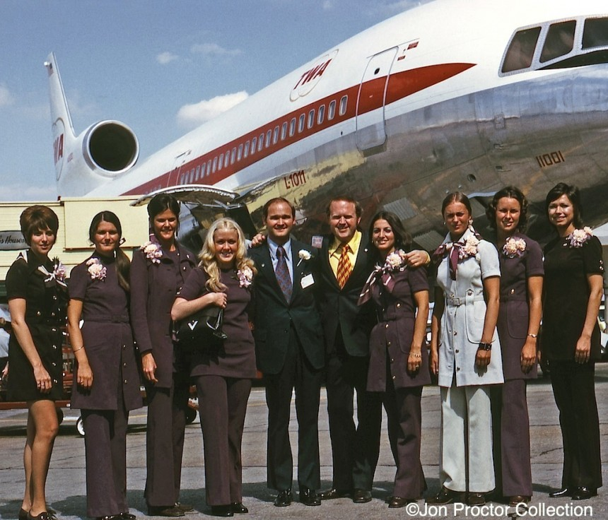 As a TWA Director of Customer Service (DCS), I was fortunate to be on the L-1011 inaugural flight, June 25, 1972, from St Louis to Los Angeles, serving as an instructor. That's me in the dark suit with garish yellow and maroon tie. More on my TriStar experiences can be found here.  ©Jon Proctor