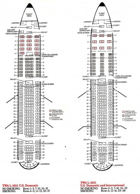 The domestic and international seat diagrams as seen in the July 1985 timetable (click on the image for a larger view). Compare them with the original layout at the top of this story. ©Jon Proctor Collection