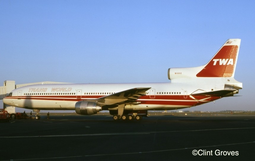 TWA adopted a new, double-stripe livery in 1976. The first TriStar so painted a year later was N11002, seen at San Francisco.