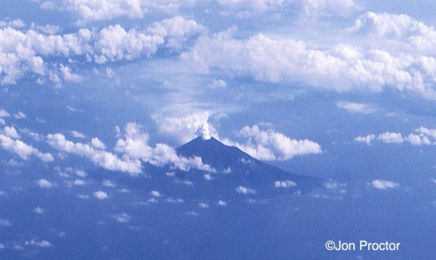 A volcano erupting on the island nation of New Hebrides.