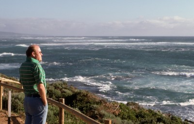 Gazing out at the sea from the southwestern-most point in Australia.