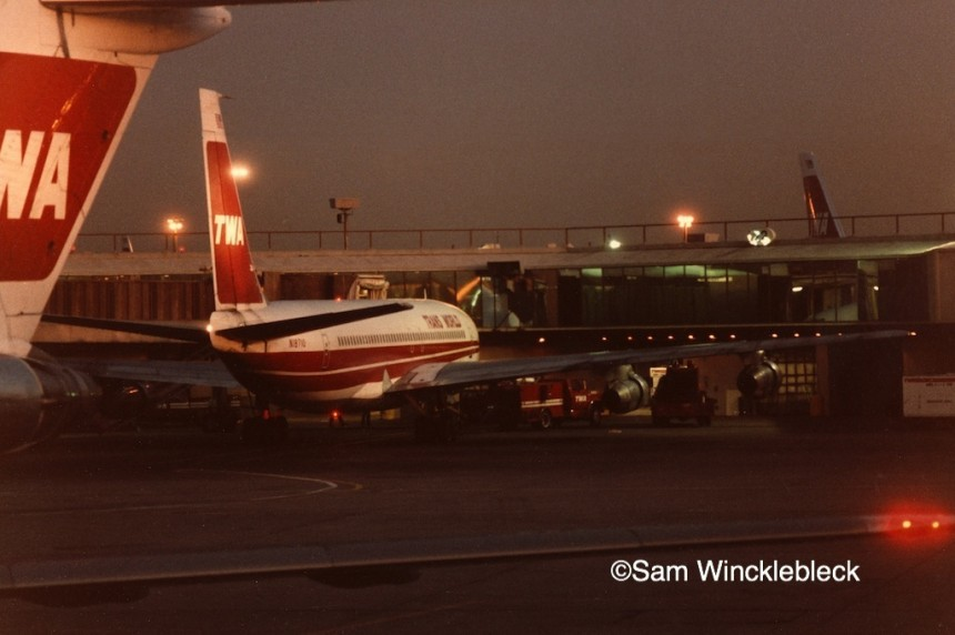 N18710 at JFK after operating the last regularly scheduled TWA 707 service.
