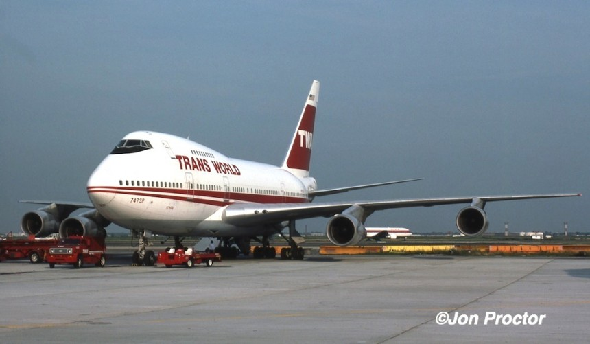 N57203, one of three TWA 747SPs, and the only one I ever worked, seen at JFK.
