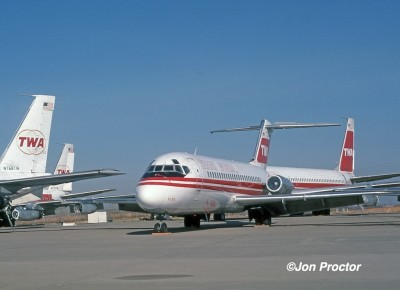 Both the original Nines and straight-pipe 707-331s were leaving TWA's fleet about the time I worked them. Withdrawn aircraft are seen at the TWA overhaul base in 1979.