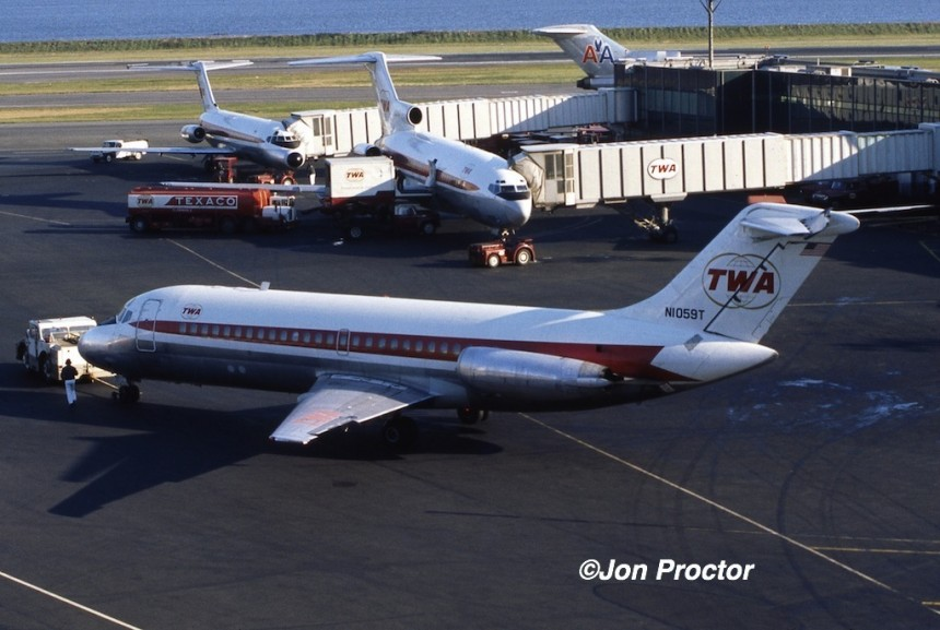Close-in La Guardia Airport was a pleasant alternative to JFK. Two original TWA DC-9s are seen in this 1971 picture.
